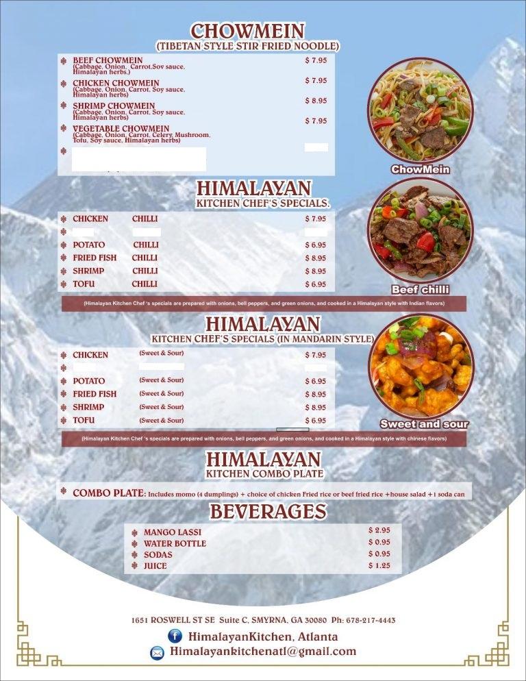 Menu Himalayan Kitchen Atlanta